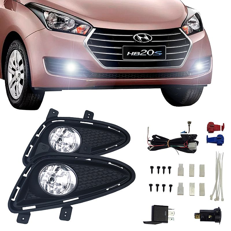 Kit Farol de Milha Hyundai HB20 2012 até 2015 Farol Neblina