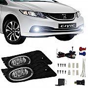 Kit Farol de Milha Honda Civic 2012 até 2014 Farol Neblina Auxiliar